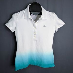 Lacoste Shirt Size 38 Small White Blue Women Ombre